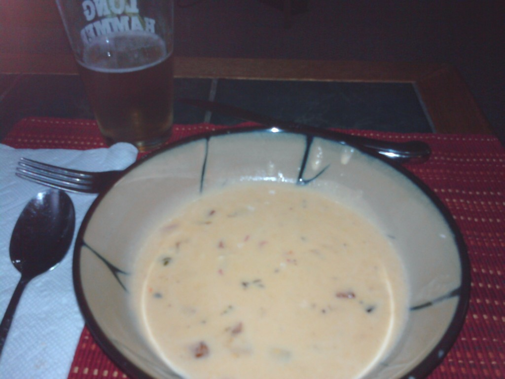 cheese soup with Harp beer