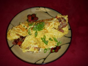 omelette with cheese and sausage