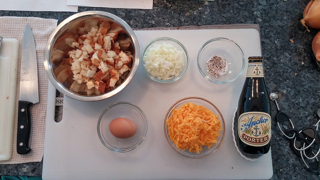 mise for cheese and onion bread pudding