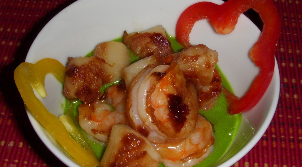 chilled seafood with cilantro jalapeno puree